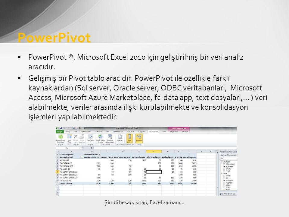 •PowerPivot ®, Microsoft Excel 2010 için geliştirilmiş bir veri analiz aracıdır.