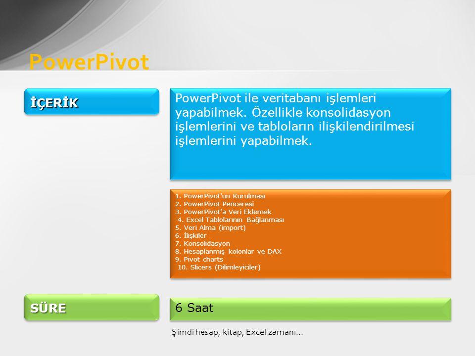 PowerPivot Şimdi hesap, kitap, Excel zamanı… İÇERİKİÇERİK PowerPivot ile veritabanı işlemleri yapabilmek.