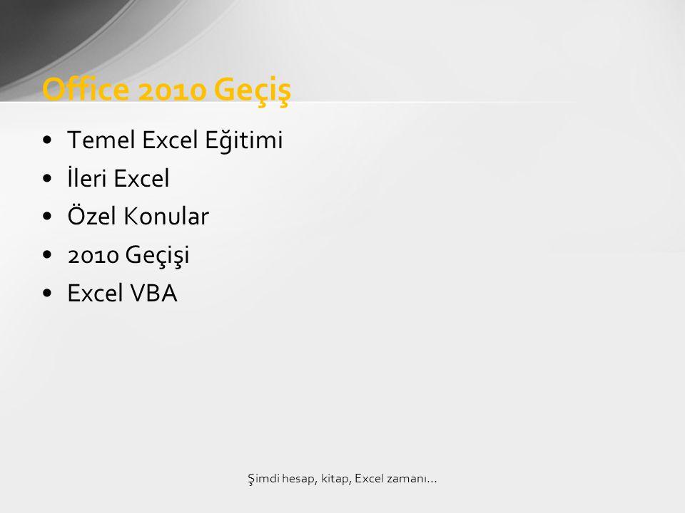 •Temel Excel Eğitimi •İleri Excel •Özel Konular •2010 Geçişi •Excel VBA Office 2010 Geçiş Şimdi hesap, kitap, Excel zamanı…