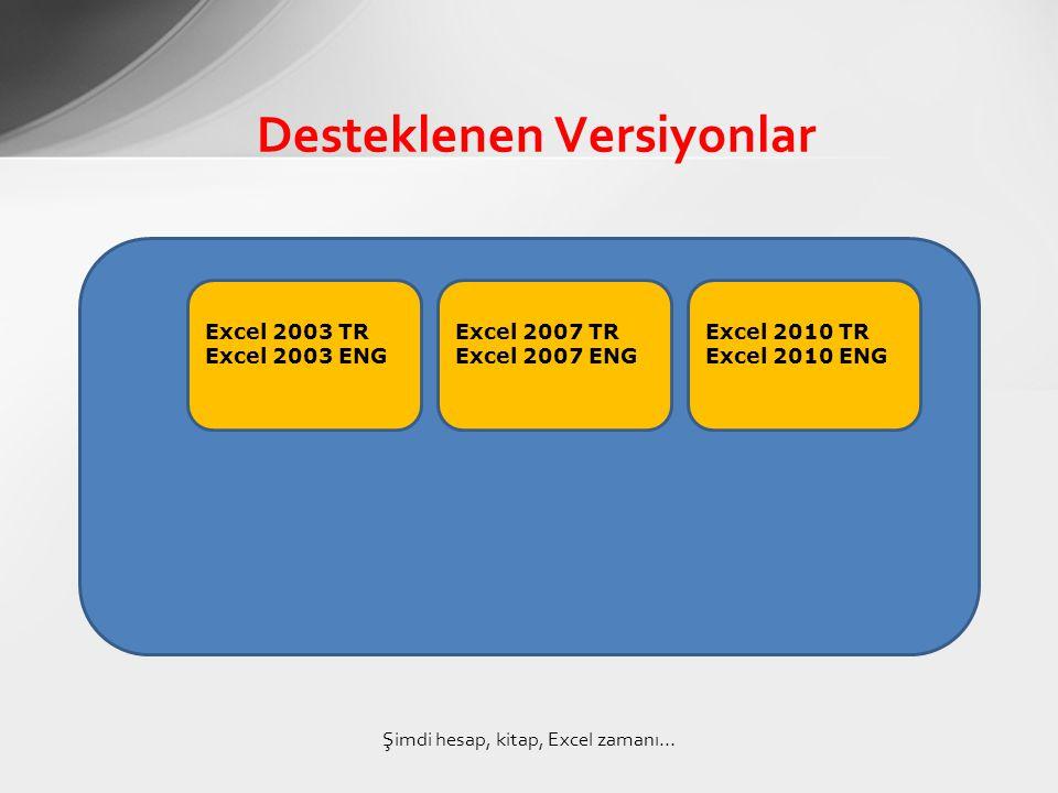 Desteklenen Versiyonlar Şimdi hesap, kitap, Excel zamanı… Excel 2003 TR Excel 2003 ENG Excel 2007 TR Excel 2007 ENG Excel 2010 TR Excel 2010 ENG