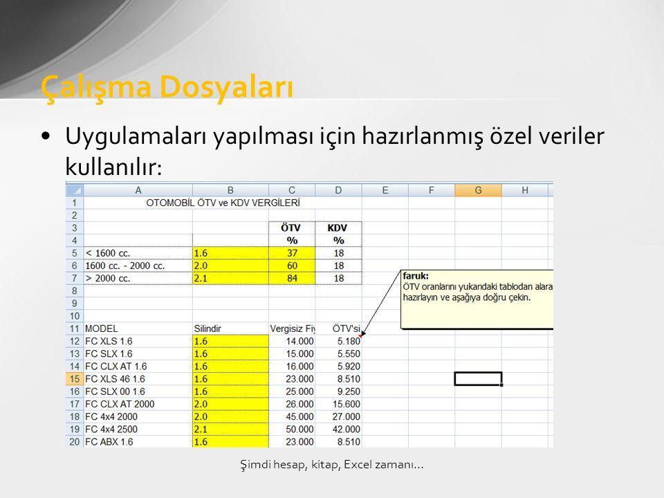 •Uygulamaları yapılması için hazırlanmış özel veriler kullanılır: Çalışma Dosyaları Şimdi hesap, kitap, Excel zamanı…