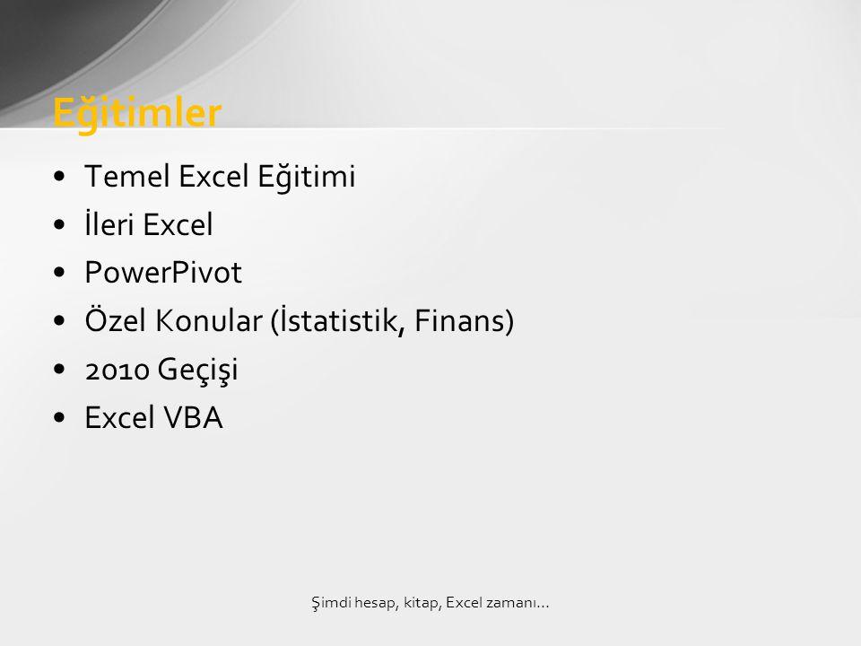 •Temel Excel Eğitimi •İleri Excel •PowerPivot •Özel Konular (İstatistik, Finans) •2010 Geçişi •Excel VBA Eğitimler Şimdi hesap, kitap, Excel zamanı…