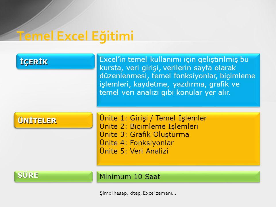 Temel Excel Eğitimi Şimdi hesap, kitap, Excel zamanı… İÇERİKİÇERİK Excel'in temel kullanımı için geliştirilmiş bu kursta, veri girişi, verilerin sayfa olarak düzenlenmesi, temel fonksiyonlar, biçimleme işlemleri, kaydetme, yazdırma, grafik ve temel veri analizi gibi konular yer alır.