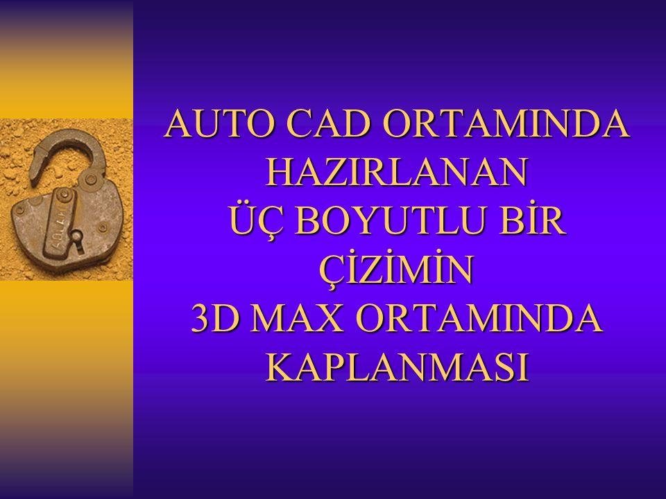 AUTO CAD ORTAMINDA HAZIRLANAN ÜÇ BOYUTLU BİR ÇİZİMİN 3D MAX ORTAMINDA KAPLANMASI