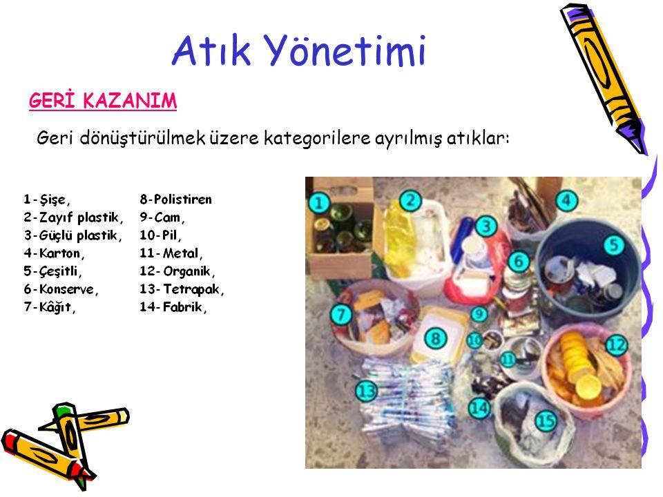 Atık Yönetimi GERİ KAZANIM Geri dönüştürülmek üzere kategorilere ayrılmış atıklar: