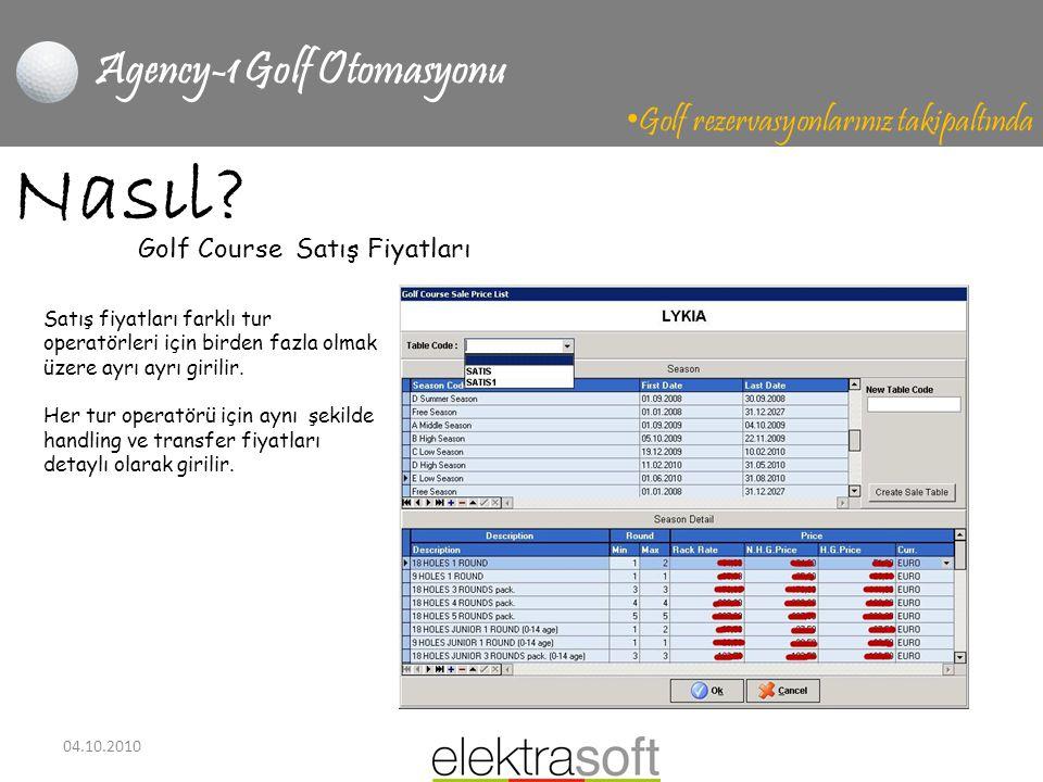 04.10.2010 Agency-1 Golf Otomasyonu • Golf rezervasyonlarınız takipaltında Nasıl? Golf Course Satış Fiyatları Satış fiyatları farklı tur operatörleri