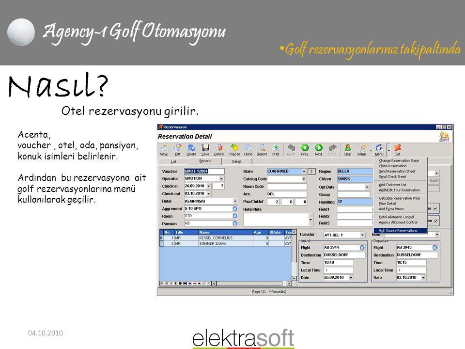 04.10.2010 Agency-1 Golf Otomasyonu • Golf rezervasyonlarınız takipaltında Nasıl? Acenta, voucher, otel, oda, pansiyon, konuk isimleri belirlenir. Ard