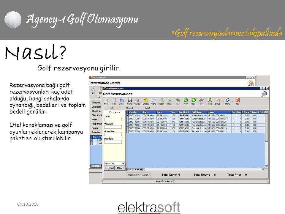 04.10.2010 Agency-1 Golf Otomasyonu • Golf rezervasyonlarınız takipaltında Nasıl? Rezervasyona bağlı golf rezervasyonları kaç adet olduğu, hangi sahal
