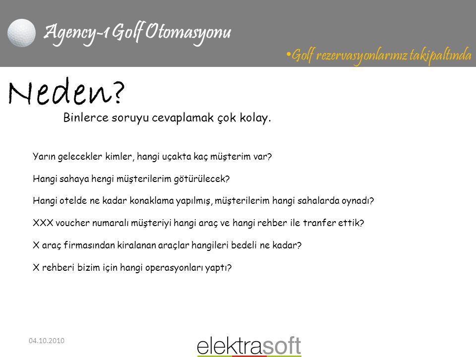 04.10.2010 Agency-1 Golf Otomasyonu • Golf rezervasyonlarınız takipaltında Neden? Yarın gelecekler kimler, hangi uçakta kaç müşterim var? Hangi sahaya