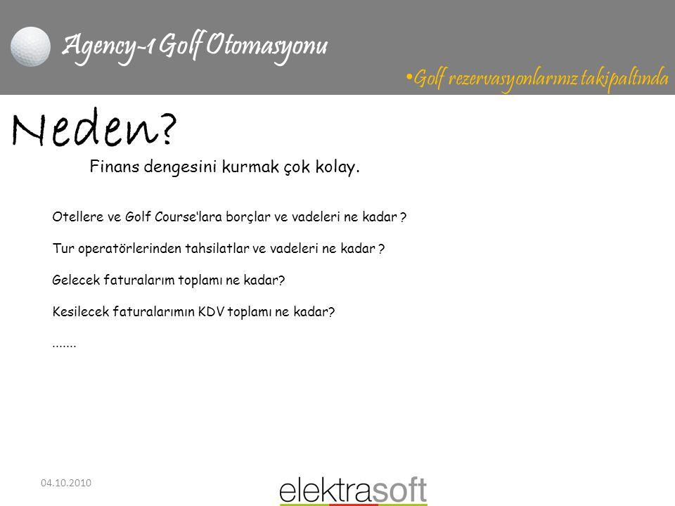 04.10.2010 Agency-1 Golf Otomasyonu • Golf rezervasyonlarınız takipaltında Neden? Otellere ve Golf Course'lara borçlar ve vadeleri ne kadar ? Tur oper