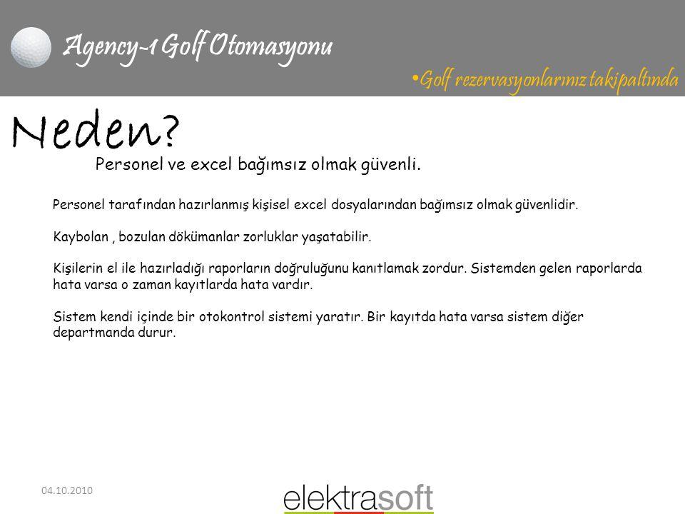 04.10.2010 Agency-1 Golf Otomasyonu • Golf rezervasyonlarınız takipaltında Neden? Personel tarafından hazırlanmış kişisel excel dosyalarından bağımsız