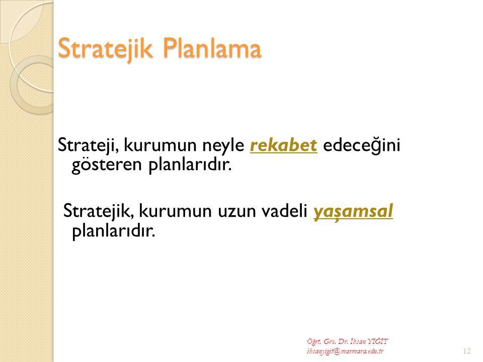 Stratejik Planlama Strateji, kurumun neyle rekabet edece ğ ini gösteren planlarıdır.