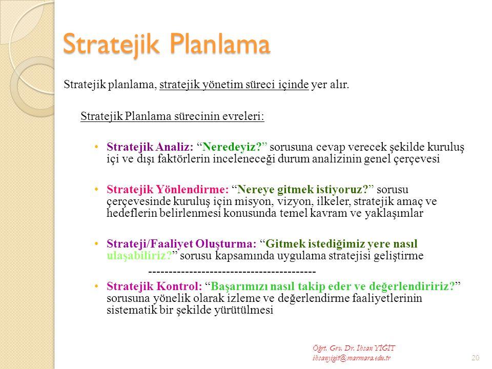 Stratejik Planlama Stratejik planlama, stratejik yönetim süreci içinde yer alır.