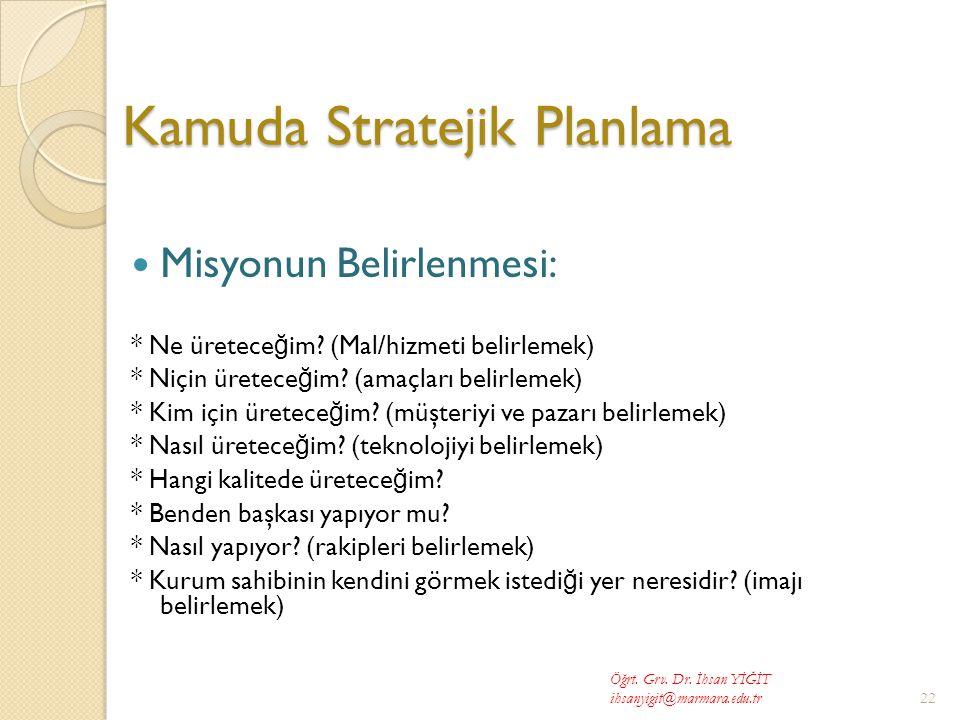 Kamuda Stratejik Planlama  Misyonun Belirlenmesi: * Ne üretece ğ im.