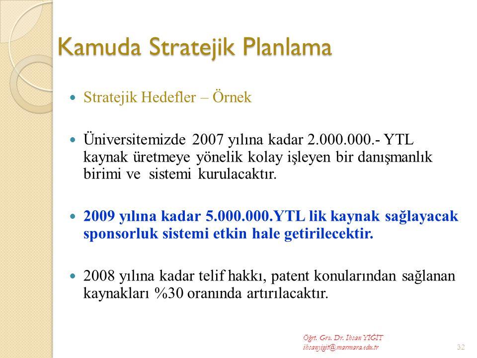 Kamuda Stratejik Planlama  Stratejik Hedefler – Örnek  Üniversitemizde 2007 yılına kadar 2.000.000.- YTL kaynak üretmeye yönelik kolay işleyen bir danışmanlık birimi ve sistemi kurulacaktır.