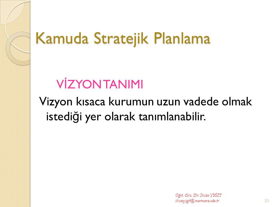 Kamuda Stratejik Planlama V İ ZYON TANIMI Vizyon kısaca kurumun uzun vadede olmak istedi ğ i yer olarak tanımlanabilir.