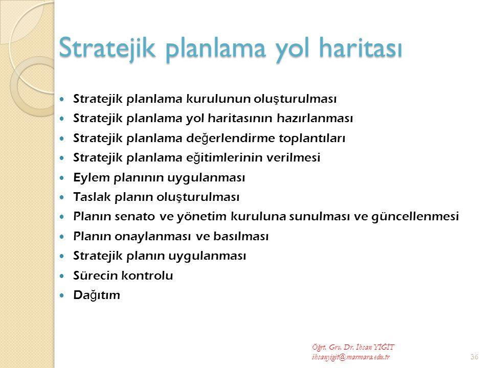 Stratejik planlama yol haritası  Stratejik planlama kurulunun olu ş turulması  Stratejik planlama yol haritasının hazırlanması  Stratejik planlama de ğ erlendirme toplantıları  Stratejik planlama e ğ itimlerinin verilmesi  Eylem planının uygulanması  Taslak planın olu ş turulması  Planın senato ve yönetim kuruluna sunulması ve güncellenmesi  Planın onaylanması ve basılması  Stratejik planın uygulanması  Sürecin kontrolu  Da ğ ıtım Öğrt.