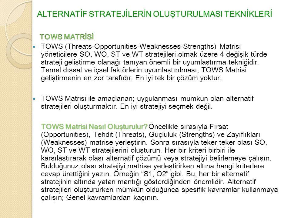 ALTERNATİF STRATEJİLERİN OLUŞTURULMASI TEKNİKLERİ  TOWS (Threats-Opportunities-Weaknesses-Strengths) Matrisi yöneticilere SO, WO, ST ve WT stratejileri olmak üzere 4 değişik türde strateji geliştirme olanağı tanıyan önemli bir uyumlaştırma tekniğidir.