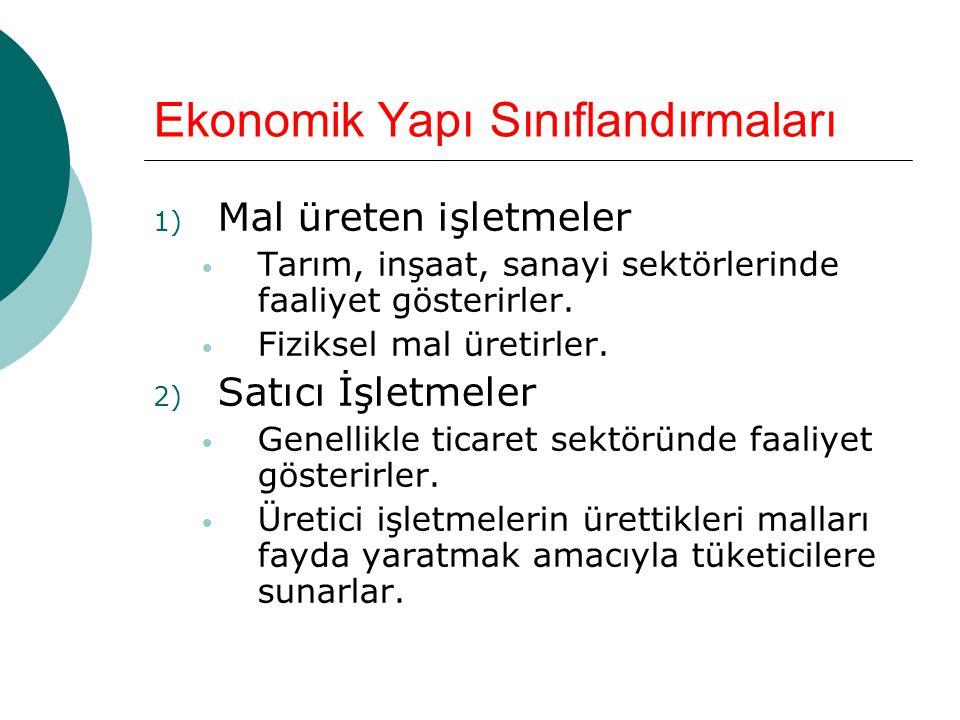 Ekonomik Yapı Sınıflandırmaları 1) Mal üreten işletmeler • Tarım, inşaat, sanayi sektörlerinde faaliyet gösterirler.