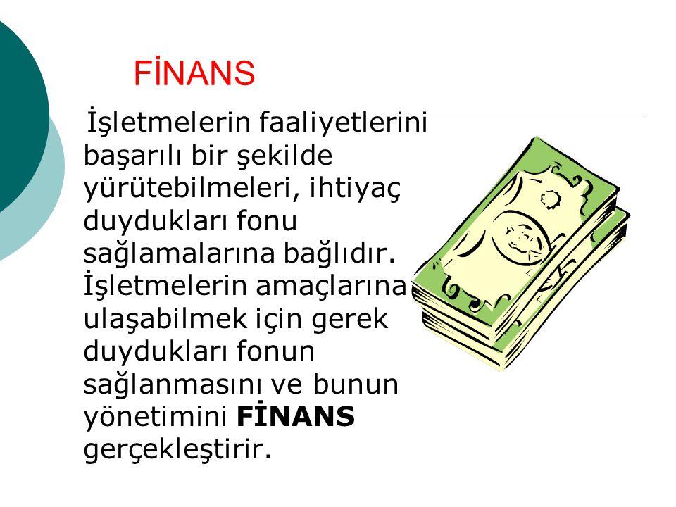 FİNANS İşletmelerin faaliyetlerini başarılı bir şekilde yürütebilmeleri, ihtiyaç duydukları fonu sağlamalarına bağlıdır.