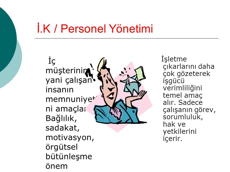 İ.K / Personel Yönetimi İç müşterinin yani çalışan insanın memnuniyeti ni amaçlar.