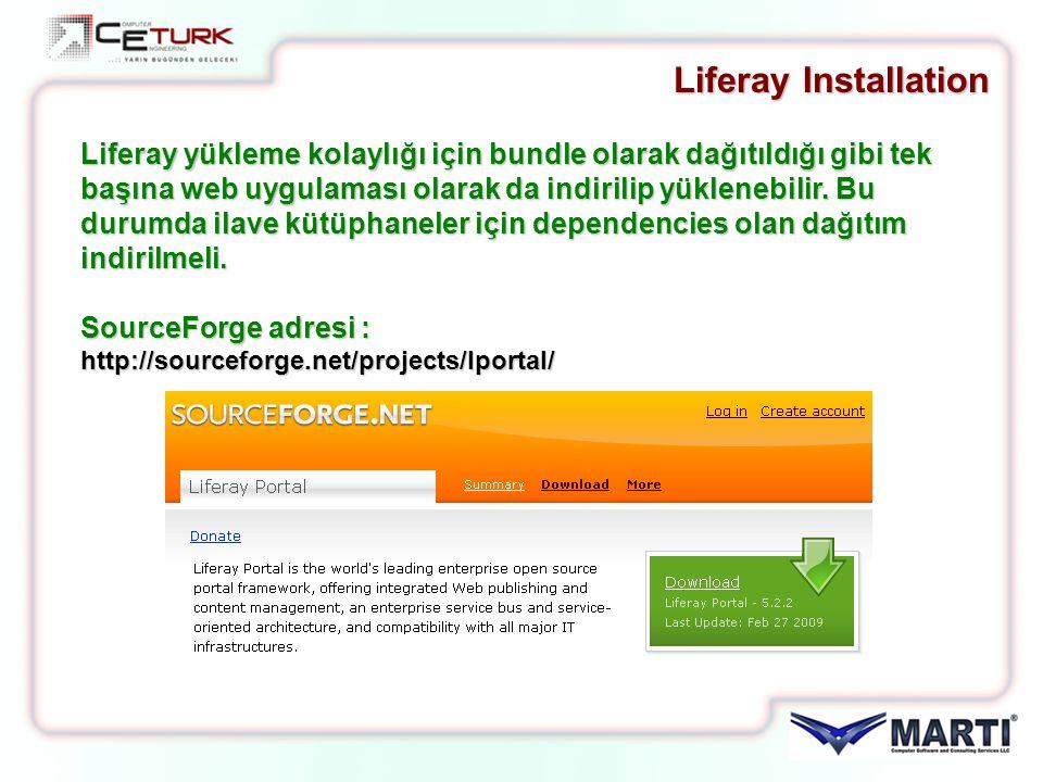 Liferay yükleme kolaylığı için bundle olarak dağıtıldığı gibi tek başına web uygulaması olarak da indirilip yüklenebilir. Bu durumda ilave kütüphanele
