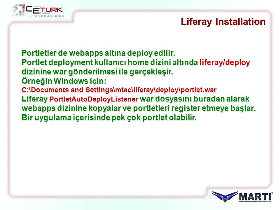 Liferay Installation Portletler de webapps altına deploy edilir. Portlet deployment kullanıcı home dizini altında liferay/deploy dizinine war gönderil