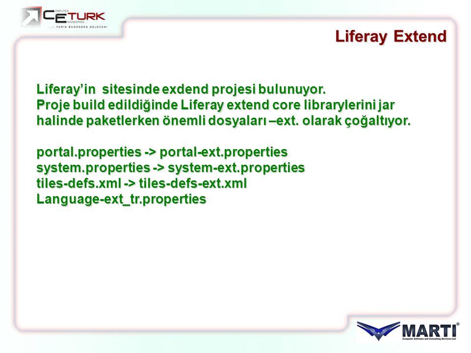 Liferay'in sitesinde exdend projesi bulunuyor. Proje build edildiğinde Liferay extend core librarylerini jar halinde paketlerken önemli dosyaları –ext