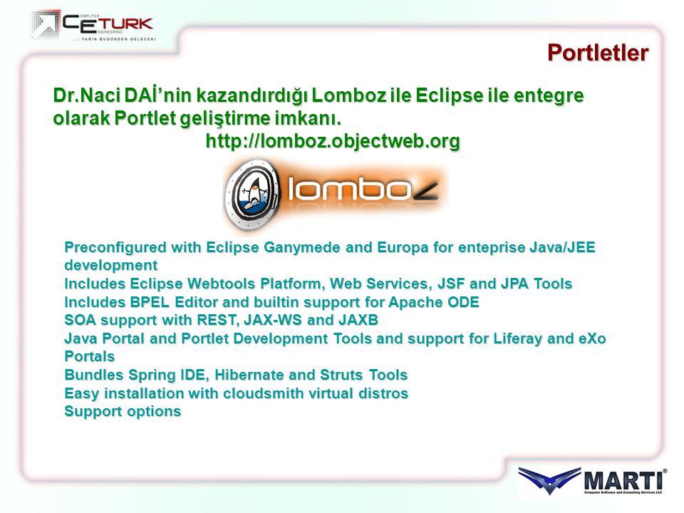 Portletler Dr.Naci DAİ'nin kazandırdığı Lomboz ile Eclipse ile entegre olarak Portlet geliştirme imkanı. http://lomboz.objectweb.org http://lomboz.obj