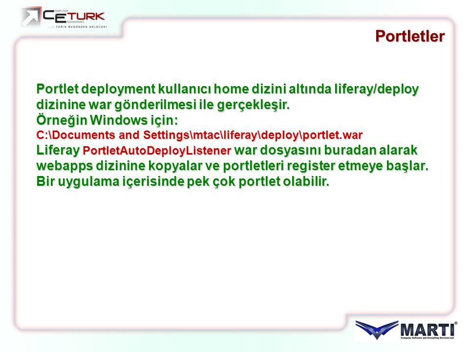 Portletler Portlet deployment kullanıcı home dizini altında liferay/deploy dizinine war gönderilmesi ile gerçekleşir. Örneğin Windows için: C:\Documen