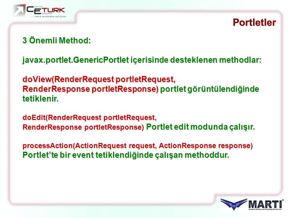 Portletler 3 Önemli Method: javax.portlet.GenericPortlet içerisinde desteklenen methodlar: doView(RenderRequest portletRequest, RenderResponse portlet