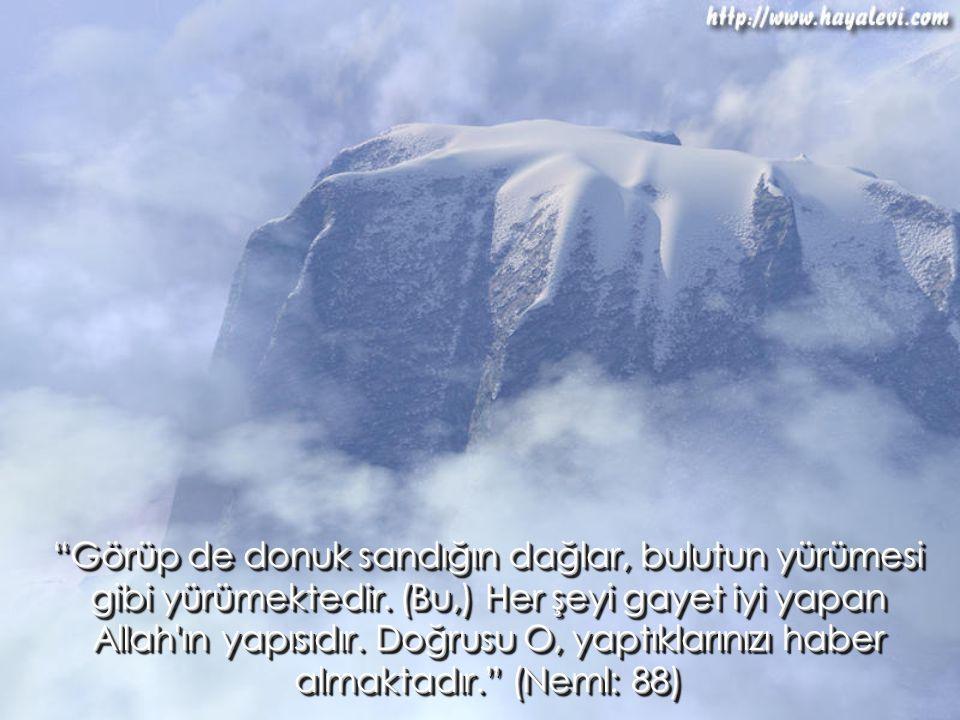 """""""Görüp de donuk sandığın dağlar, bulutun yürümesi gibi yürümektedir. (Bu,) Her şeyi gayet iyi yapan Allah'ın yapısıdır. Doğrusu O, yaptıklarınızı habe"""