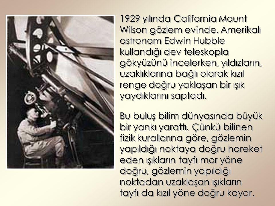1929 yılında California Mount Wilson gözlem evinde, Amerikalı astronom Edwin Hubble kullandığı dev teleskopla gökyüzünü incelerken, yıldızların, uzakl