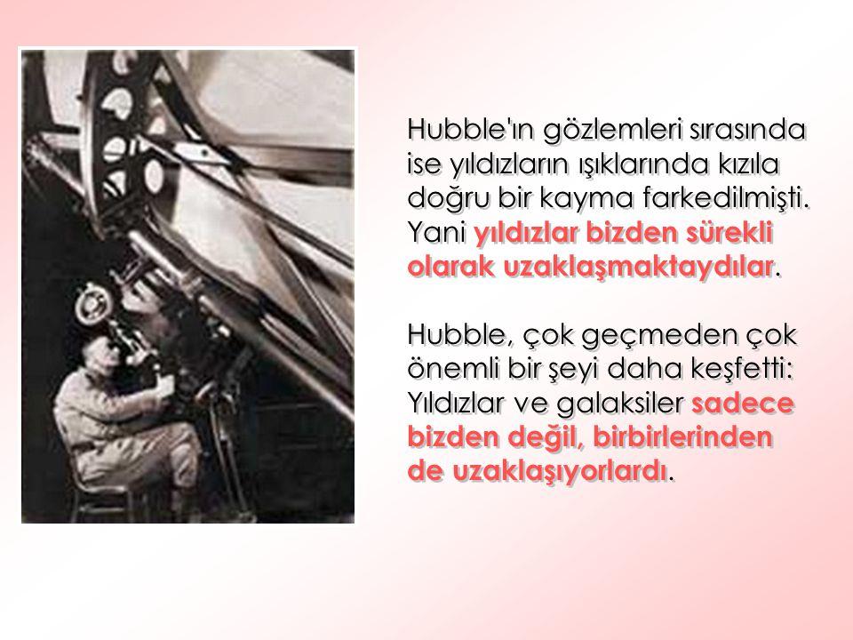 Hubble'ın gözlemleri sırasında ise yıldızların ışıklarında kızıla doğru bir kayma farkedilmişti. Yani yıldızlar bizden sürekli olarak uzaklaşmaktaydıl