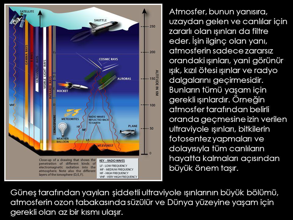 Atmosfer, bunun yanısıra, uzaydan gelen ve canlılar için zararlı olan ışınları da filtre eder. İşin ilginç olan yanı, atmosferin sadece zararsız orand