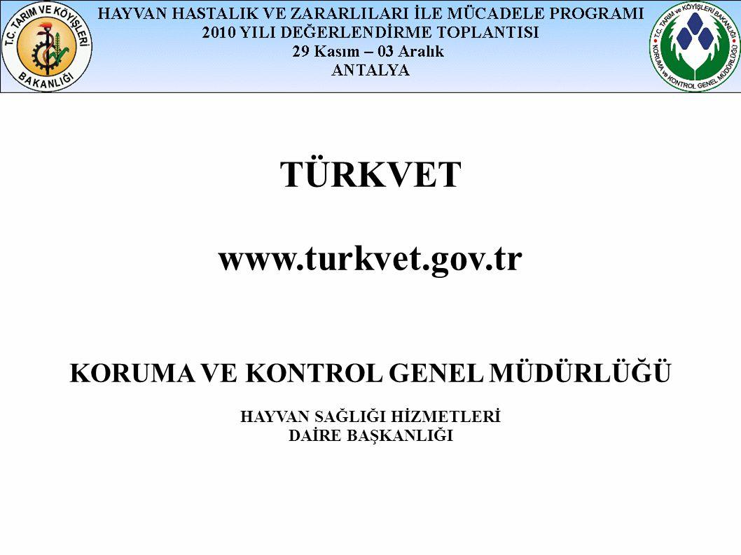 TÜRKVET www.turkvet.gov.tr KORUMA VE KONTROL GENEL MÜDÜRLÜĞÜ HAYVAN SAĞLIĞI HİZMETLERİ DAİRE BAŞKANLIĞI