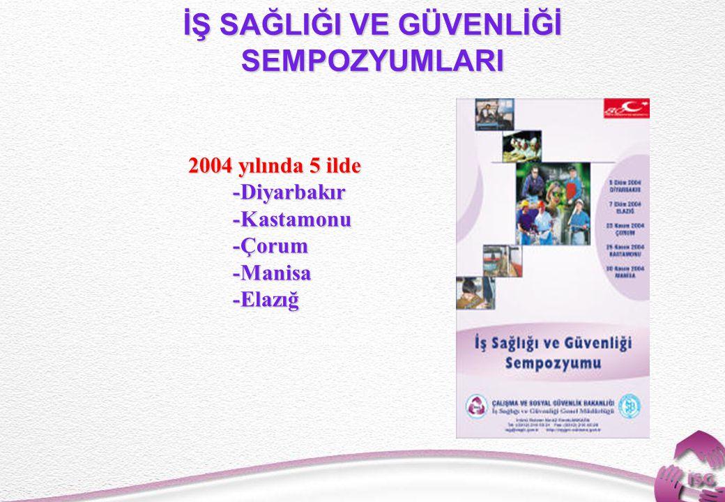 18 İŞ SAĞLIĞI VE GÜVENLİĞİ SEMPOZYUMLARI 2004 yılında 5 ilde -Diyarbakır -Diyarbakır -Kastamonu -Kastamonu -Çorum -Çorum -Manisa -Manisa -Elazığ -Elazığ