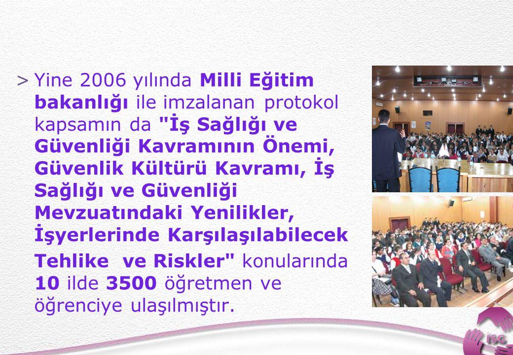 22 >Yine 2006 yılında Milli Eğitim bakanlığı ile imzalanan protokol kapsamın da