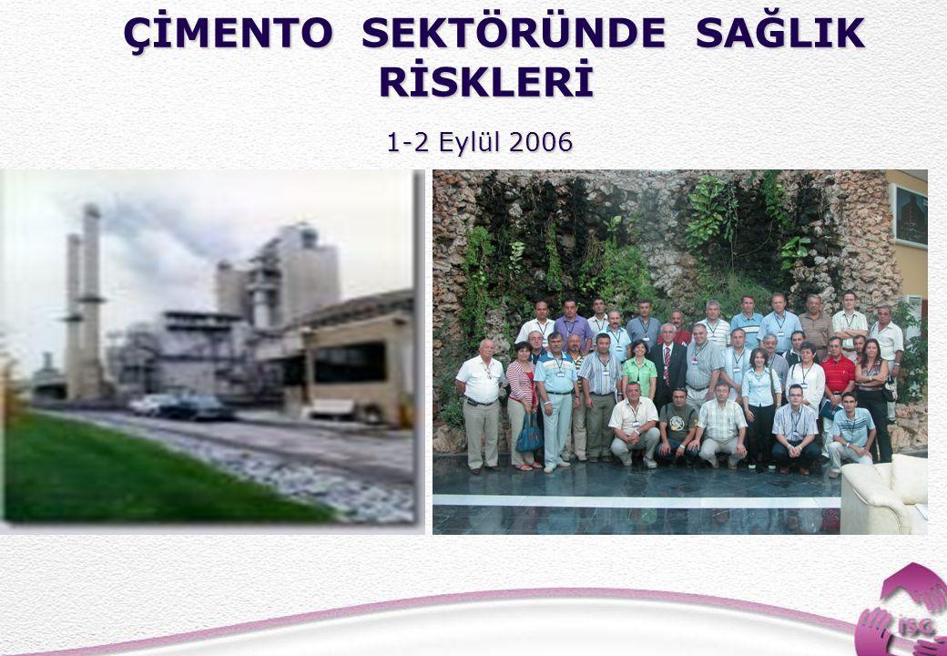 24 ÇİMENTO SEKTÖRÜNDE SAĞLIK RİSKLERİ ÇİMENTO SEKTÖRÜNDE SAĞLIK RİSKLERİ 1-2 Eylül 2006