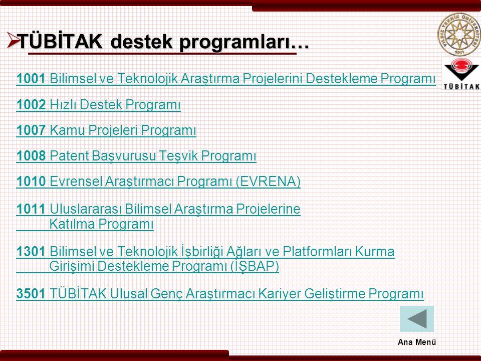  TÜBİTAK destek programları… 1001 Bilimsel ve Teknolojik Araştırma Projelerini Destekleme Programı 1002 Hızlı Destek Programı 1007 Kamu Projeleri Pro