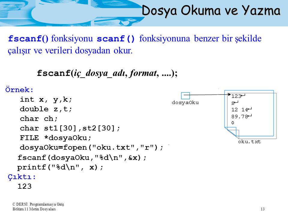 C DERSİ Programlamaya Giriş Bölüm 11 Metin Dosyaları 13 Dosya Okuma ve Yazma fscanf () fonksiyonu scanf() fonksiyonuna benzer bir şekilde çalışır ve v