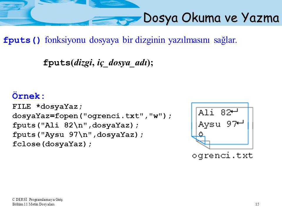C DERSİ Programlamaya Giriş Bölüm 11 Metin Dosyaları 15 Dosya Okuma ve Yazma fputs() fonksiyonu dosyaya bir dizginin yazılmasını sağlar. fputs (dizgi,
