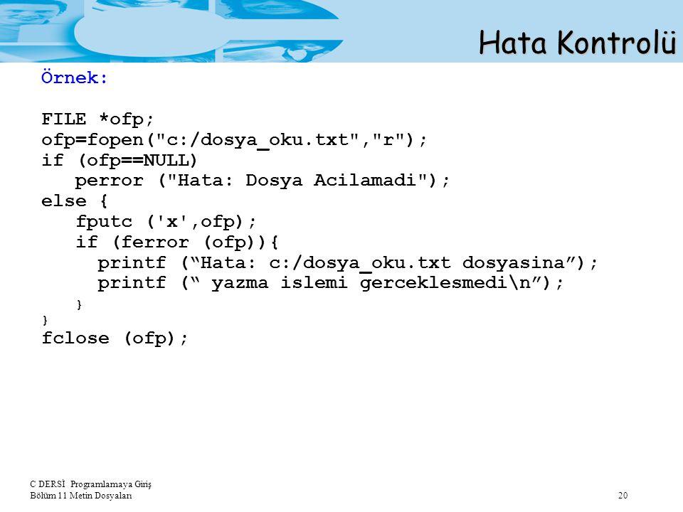 C DERSİ Programlamaya Giriş Bölüm 11 Metin Dosyaları 20 Hata Kontrolü Örnek: FILE *ofp; ofp=fopen(