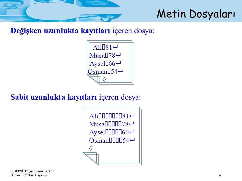 C DERSİ Programlamaya Giriş Bölüm 11 Metin Dosyaları 4 Değişken uzunlukta kayıtları içeren dosya: Ali  81  Musa  78  Aysel  66  Osman  54  ◊ M