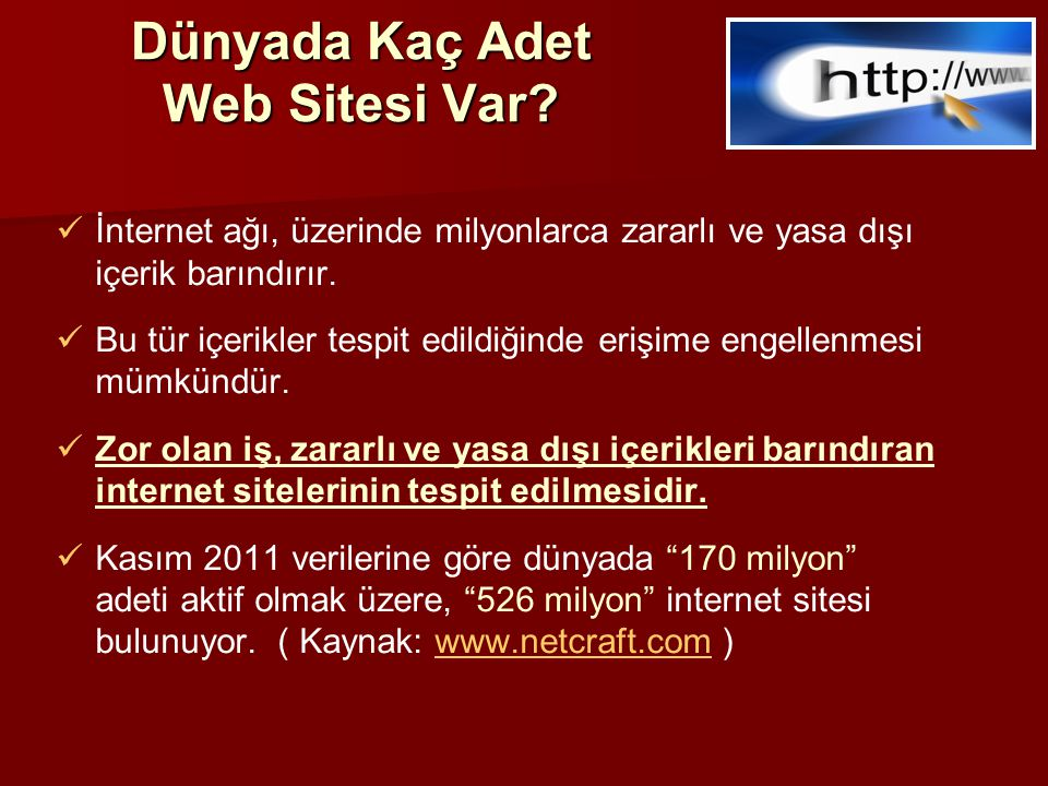 Dünya'da Bilgi İhbar Merkezleri ve INHOPE   Dünyanın değişik ülkeleri, İnternet ortamındaki yasadışı içerikle mücadele etmek amacıyla İnternet Bilgi İhbar Merkezlerini (Hotline) kurudu.