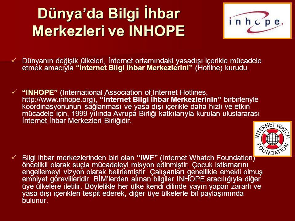 Ulusal Bilgi İhbar Merkezi   Ülkemizde ulusal İnternet Bilgi İhbar Merkezi 5651 sayılı yasa ile birlikte Bilgi Teknolojileri ve İletişim Kurumu bünyesinde 23 Kasım 2007 tarihinde kuruldu.