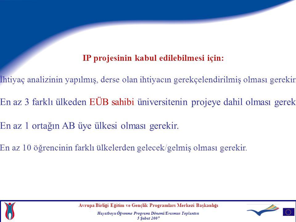 Avrupa Birliği Eğitim ve Gençlik Programları Merkezi Başkanlığı Hayatboyu Öğrenme Programı Dönemi/Erasmus Toplantısı 5 Şubat 2007 IP projesinin kabul edilebilmesi için: İhtiyaç analizinin yapılmış, derse olan ihtiyacın gerekçelendirilmiş olması gerekir.