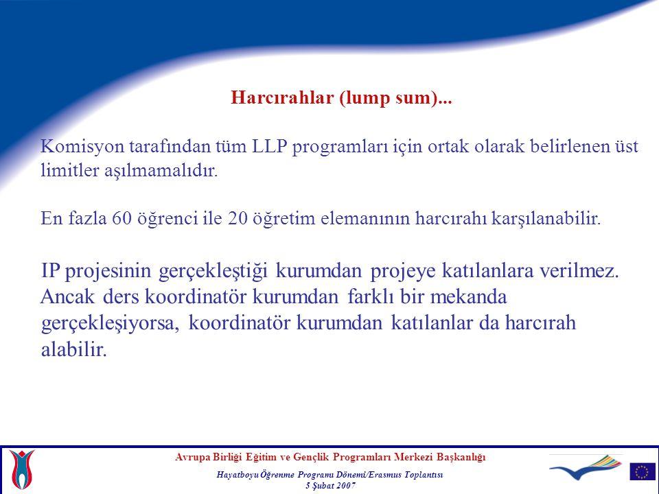 Avrupa Birliği Eğitim ve Gençlik Programları Merkezi Başkanlığı Hayatboyu Öğrenme Programı Dönemi/Erasmus Toplantısı 5 Şubat 2007 Harcırahlar (lump sum)...