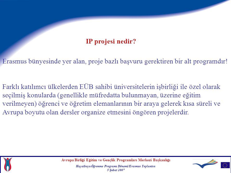 Avrupa Birliği Eğitim ve Gençlik Programları Merkezi Başkanlığı Hayatboyu Öğrenme Programı Dönemi/Erasmus Toplantısı 5 Şubat 2007 Erasmus bünyesinde yer alan, proje bazlı başvuru gerektiren bir alt programdır.