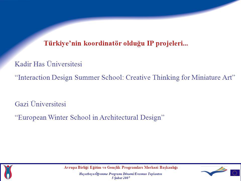Avrupa Birliği Eğitim ve Gençlik Programları Merkezi Başkanlığı Hayatboyu Öğrenme Programı Dönemi/Erasmus Toplantısı 5 Şubat 2007 Son başvuru tarihi 30 Mart 2007
